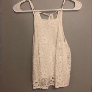 Hollister Lace White Tank Top w/ Tie Back
